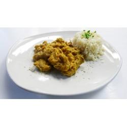 Pavo con salsa oriental y Arroz